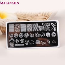 1Pc ZJOY Series Rectangle Nail Stamping Template Plates + Backplane Quality Art Image Stamp Tools (12#)