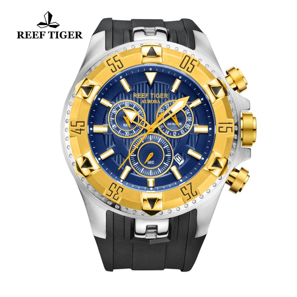 Reef Tiger/RT Super Luminous Steel Yellow Gold Watch Men Sports Quartz Watches Chronograph and Date Automatic Watches RGA303 機械 式 腕時計 スケルトン