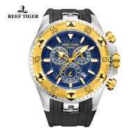 Reef Tiger/RT Super Luminous สีเหลืองทองนาฬิกาผู้ชายกีฬานาฬิกาควอตซ์ Chronograph วันที่นาฬิกาอัตโนมัติ RGA303