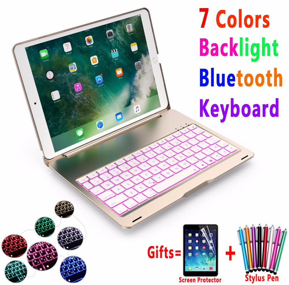 7 Colors Backlit Wireless Bluetooth Keyboard Aluminum Alloy Case Cover for Apple iPad Pro 10.5 inch A1701 A1709 Coque Capa Funda aluminum keyboard cover case with 7 colors backlight backlit wireless bluetooth keyboard