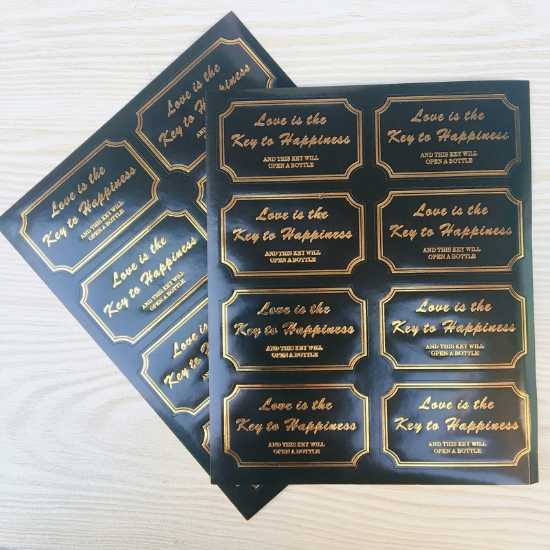 80Pcs 10Sheets Black Golden Love Is The Key To Happiness Rectangle Sealing Label Kraft Sticker Baking DIY Round Gift Stickers
