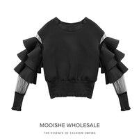 Ruffle Sleeve Black Fashion women sweatshirt Pullovers