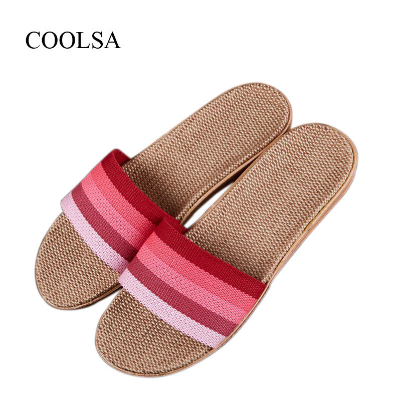 COOLSA Women's Summer Striped Linen Slippers Women Hemp Slides Women's Flax Slippers Breathable Non-slip Fashion Indoor Slippers coolsa women s summer flat non slip linen slippers indoor breathable flip flops women s brand stripe flax slippers women slides