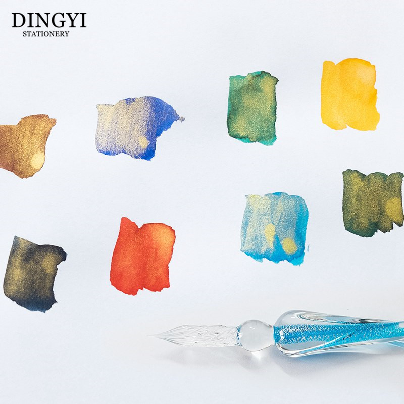 7ml Gold Powder Colored Ink Glass Dip Pen Non Carbon Painting Ink For Fountain Dip Pen Signature Calligraphy Writing Graffiti