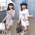 Crianças Meninas T-shirt Bonitos Dos Desenhos Animados Estampados de Algodão Longas Camisas 2016 Nova Primavera Outono Roupas Crianças Tops Para Meninas-3 12 Anos