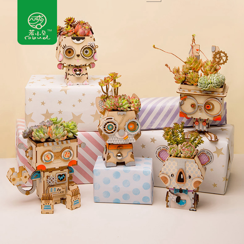 Robud 5 Types Cute Animal Robot Flower Pot Children Adult Creative 3D Wooden Puzzle Game Models & Building Kits Toy FT