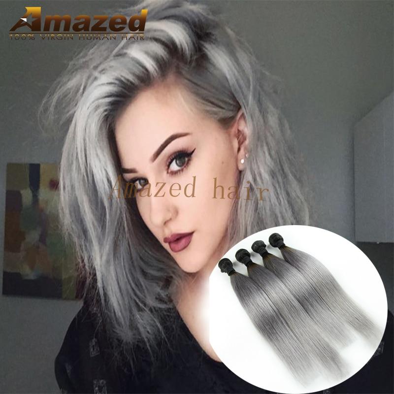 1b Grey Brazilian Straight Ombre Grey Hair Weave Dark