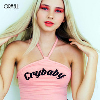 ORMELL Sexy Halter Letter Printed Crop Top 2017 Women Sleeveless Camisoles Cotton Tank Tops Spaghetti Summer