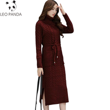 Plus Size Winter Women Knitted Dresses 2018 New Pure Color Long Sleeve Turtleneck Casual Slim Warm Maxi Sweater Dress LXT732