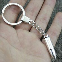 3D Bullet Keyring Keychain 35x8mm Antique Silver Key Chain Souvenir Gifts For Men