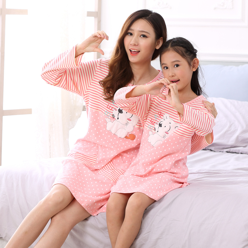Free ship 2015 autumn family pajama set clothing mother daughter dress long sleeve cotton night suit nightclothes sleepwear - Baby Heart store