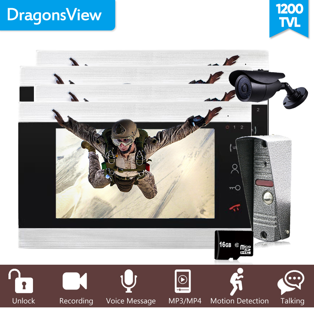Dragonsview  1200TVL 7″ Color Video Intercom Wired  Door Phone System Visual Intercom Door Entry Panel Home Security Record