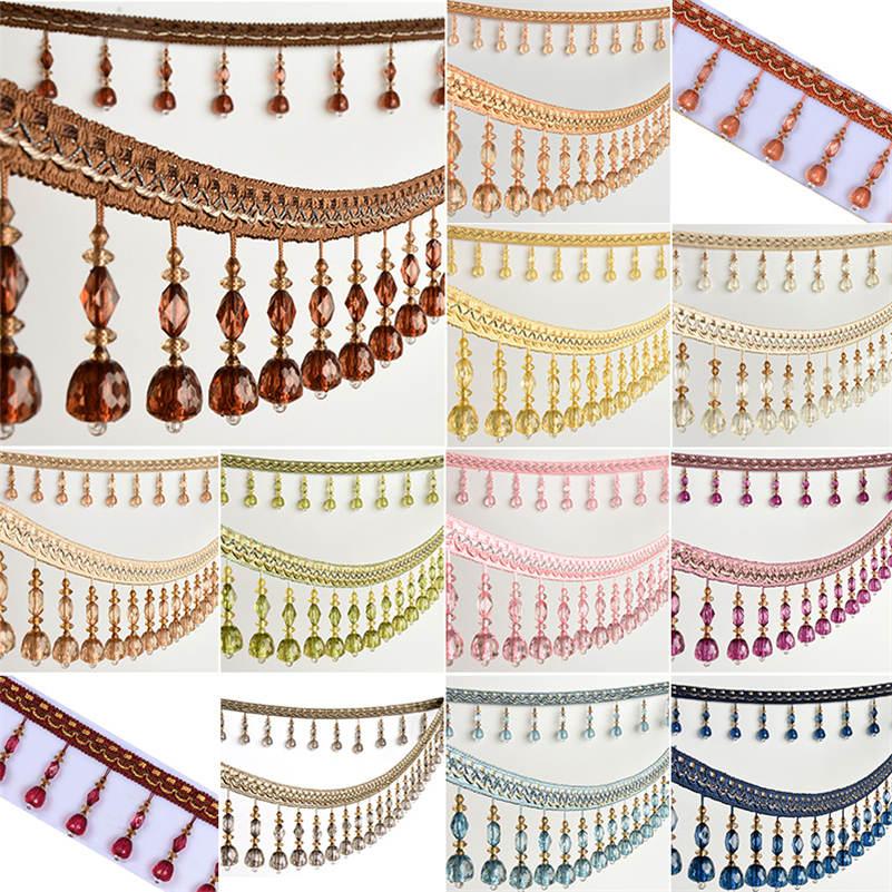 Elegant Curtain Trim Tassel Beaded Fringe Lace Ribbon Accessory DIY Sewing Craft