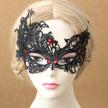 Handmade Womens Sexy Red Stone Black Lace Flower Face Eye Mask Hair Bobby Pins Hairpins Costume