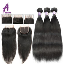Alimice Hair Malaysian Straight Hair Bundles with Closure 3 4 Bundles With Closure 100% Human Hair Bundles with Closure Non Remy(China)