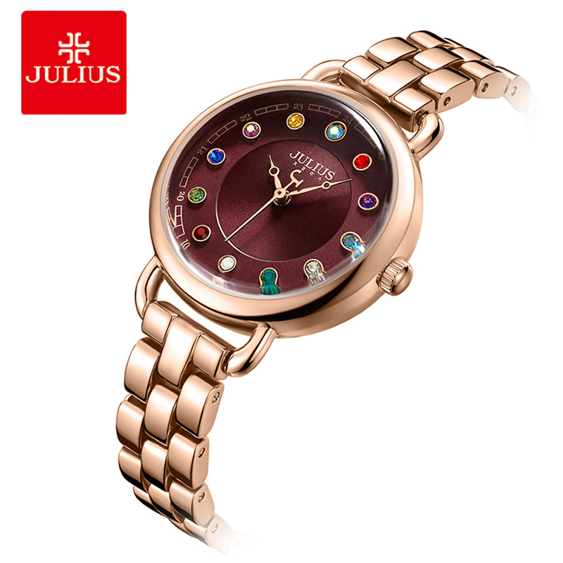 Julius Top Luxury Diamond Women Watches Fine 12 Colors Rhinestone Quartz Wristwatch Ladies Stainless Steel Bracelet Watch 2016 women diamond watches steel band vintage bracelet watch high quality ladies quartz watch