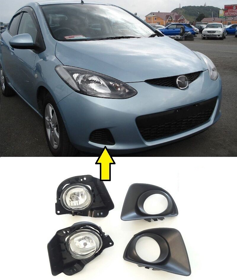 JanDeNing For Clear Fog Light Front Lamps Full Kit W/ Harness  For Mazda 2 Demio  2007-2009