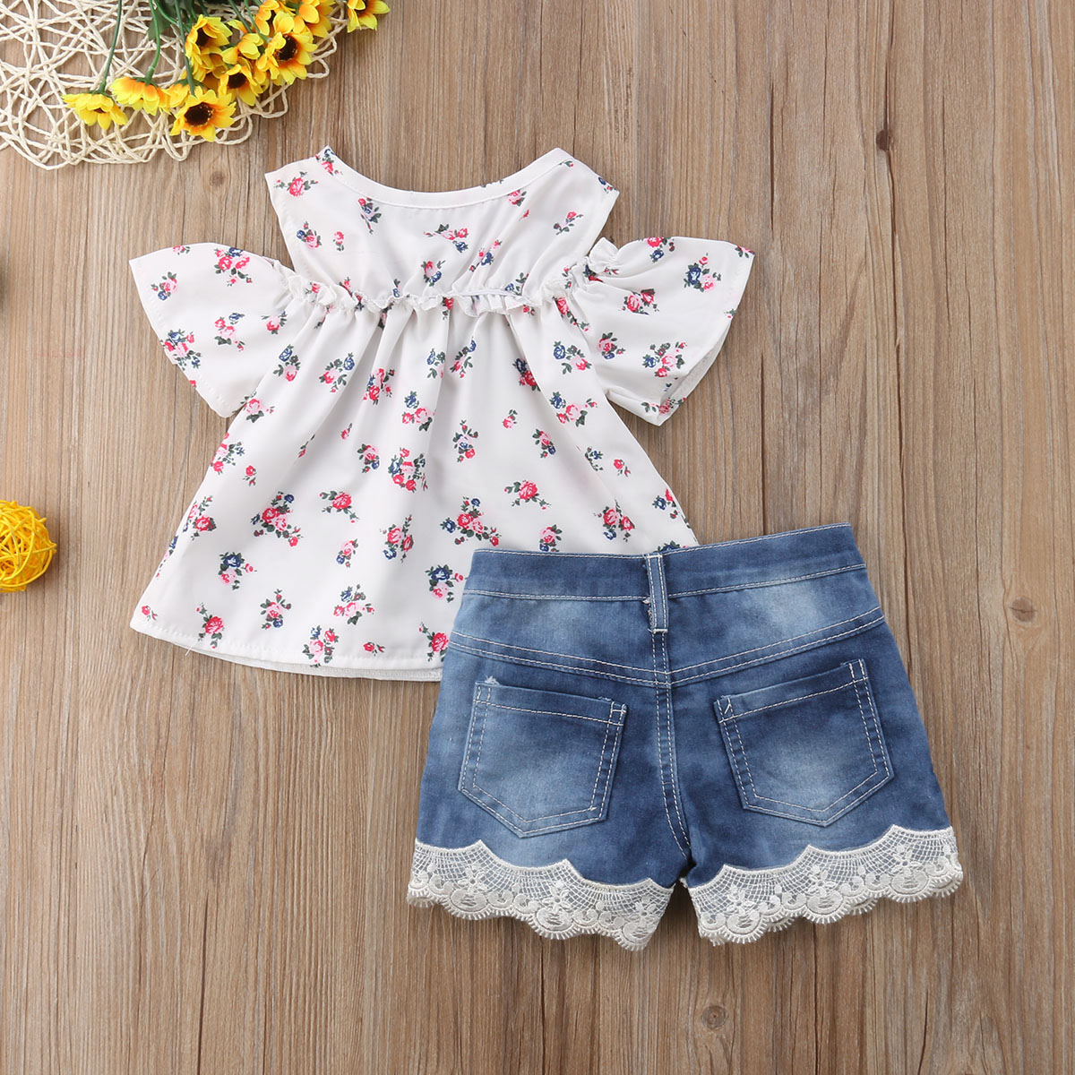 Kids 2Pcs Baby Girl Off Shoulder Rose Flower White Top Jeans Shorts Outfit