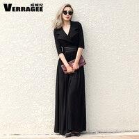 VERRAGEE Brand 2017 Autumn New Women Maxi Vintage Dress Elegant V Neck Large Size Pleated Knit