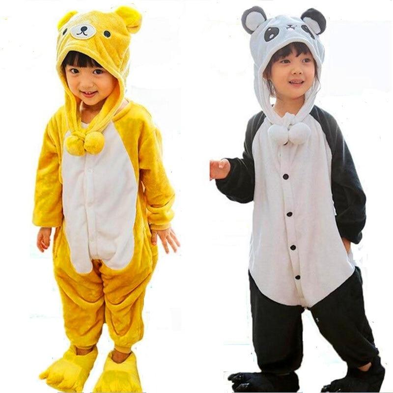 relax kuma Onesie Pajamas Baby Sleepsuit Anime Cosplay Costumes panda Jumpsuit Pyjamas Flannel Animal Children Home Sleepwear
