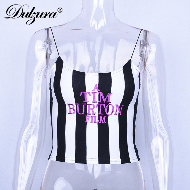 Dulzura letter embroidery women sexy crop top 2018 summer sleeveless skinny camis stripe camisoles TIM BURTON