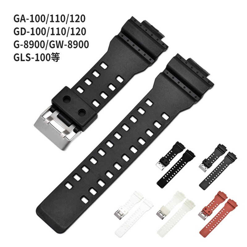 16mm Silicone Silicone <font><b>Watch</b></font> Band <font><b>Strap</b></font> Fit For GA-100 Casio <font><b>G</b></font> <font><b>Shock</b></font> Replacement Black Waterproof Watchbands Accessories image