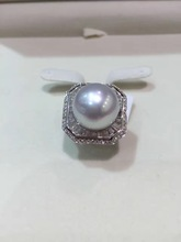 14-15MM  big pearl ring fine jewelry Natural southsea pearl ring 18K gold diamond Genuine pearl  free shipping
