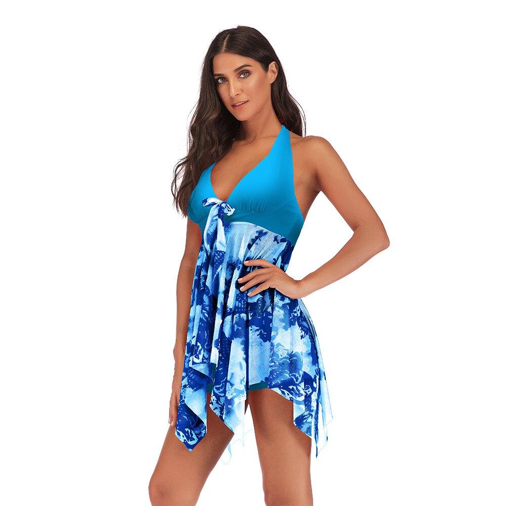 Плюс размер 5XL женский купальник с принтом, Холтер 2020, летнее пляжное платье, комплект бикини, пуш ап, купальник с открытой спиной, купальное платье|Комбинезоны|   | АлиЭкспресс