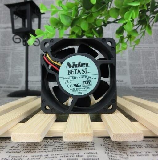 NIDEC 60*60*25mm DC 12V 0.3A 6cm D06T-12P3S2 AJ 3 Lines Ball Large Wind Cooling Fan