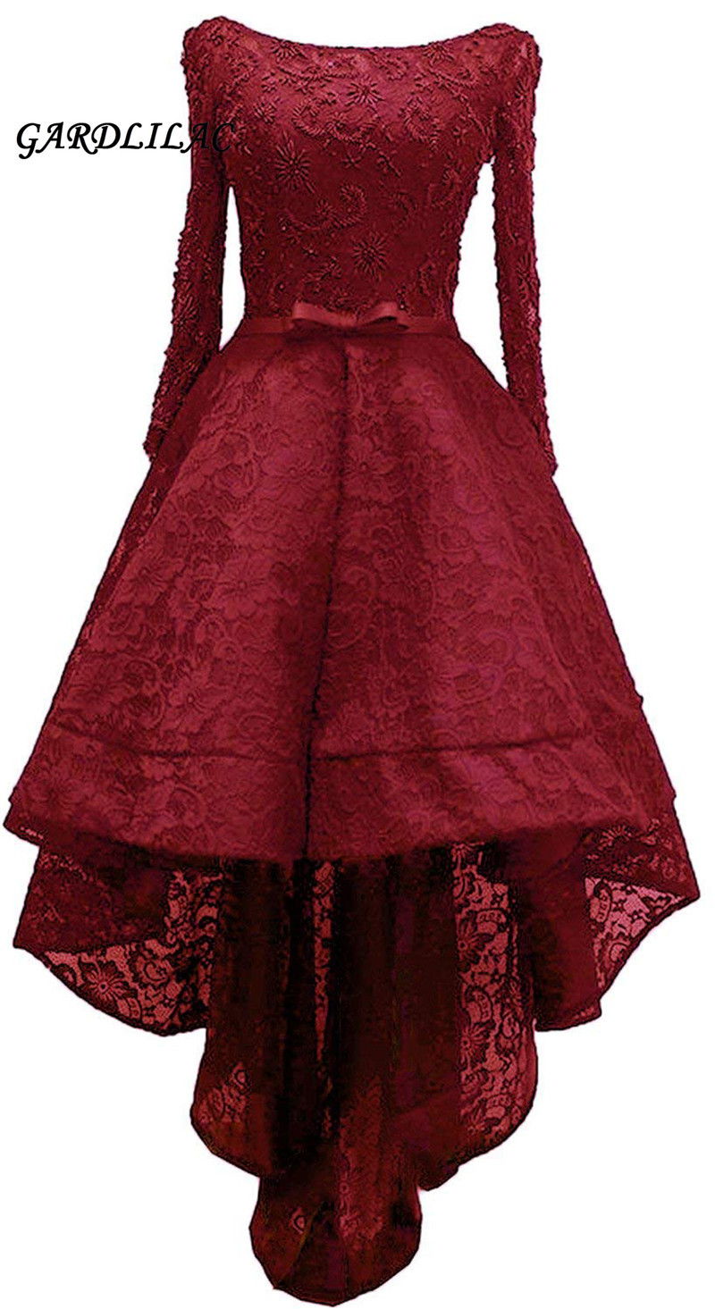 2019 New Black Burgundy Hi Lo Evening Dresses Formal Gown Long Sleeve Lace Beaded Plus size Prom Gown High Low Dress