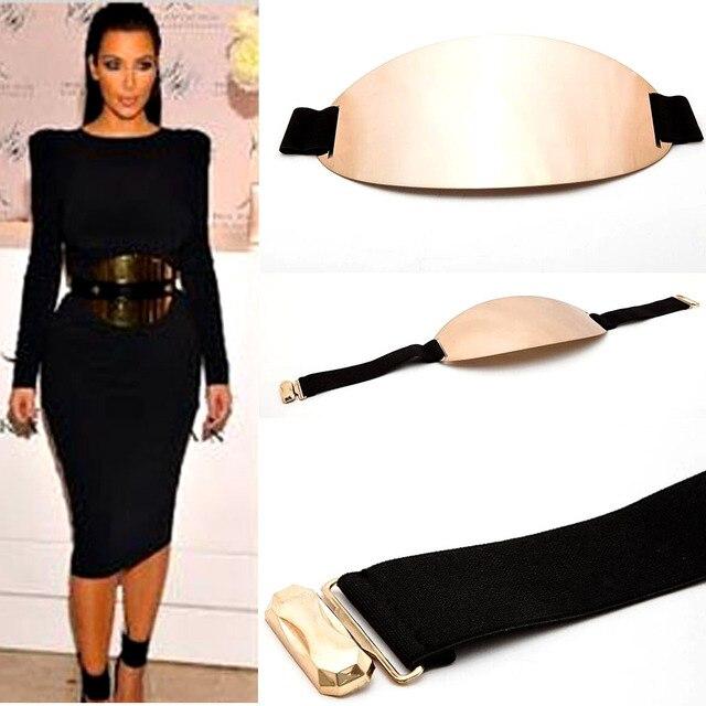 Мода женщина марка большой овальный металл ремень черный эластичный кожа дизайнер ремни комфортно носить серебро золотой пояс широкий пояс