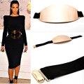 fashion woman brand large oval metal belt black elastic leather designer belts comfortable wear silver gold belt wide girdle