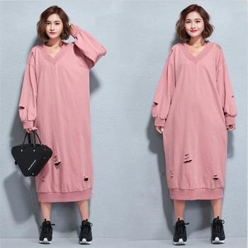 1f1896028d Más tamaño vestido de las mujeres Otoño Invierno casual V cuello agujero  Rosa Jerséis gran tamaño sudaderas Vestidos