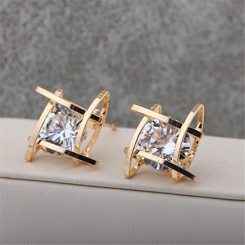 2018 Hot Fashion Brincos Oorbellen Copper Bijoux Square Geometric Cross Cubic Zirconia Crystal Stud Earrings For Women Jewelry