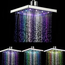 Xueqin 6 inch ABS כיכר גשם LED שינוי מקלחת ראש Adjudtable מים זרימת ריסוס טמפרטורת חיישן Chrome סיום