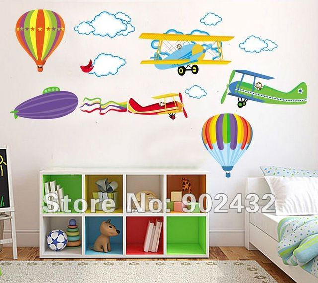 Great Airplane Hot Air Balloons Wall Stickers Home Decor Cartoon Nursery Kids  Room Decals