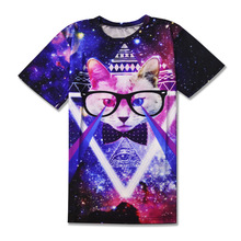 2017 casual Alien ET cat hiphop male concert shirt O-neck sweatshirt 3d print women/men cartoon pullover summer Tees T-shirt