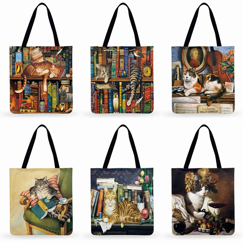 Retro Oil Painting Print Women Tote Bag Lovely Cat Linen Reusable Shopping Bags Shoulder Bags For Ladies Handbags