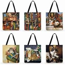 Retro Oil Painting Print Women Tote Bag Lovely Cat Linen Reusable Shopping