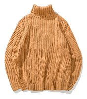 Men S Casual Turtleneck Long Sleeve Cable Chunky Knit Jumper Sweater