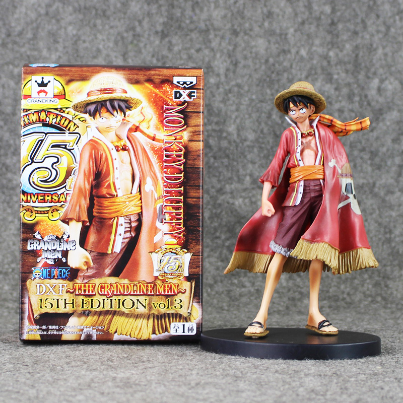 Anime One Piece Luffy Figure Grandline 15th Anniversary PVC Action Figure Model Toy 17CM Collectible Toy for Kids anime one piece monkey d luffy gear fourth pvc action figure collection model toy
