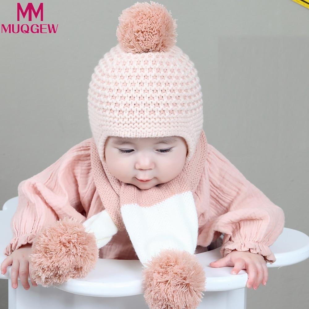 2017 MUQGEW Милая зимняя детская одежда для девочек мальчиков теплые шерстяные капюшон шарф шапки Шапки комплект для ребенка