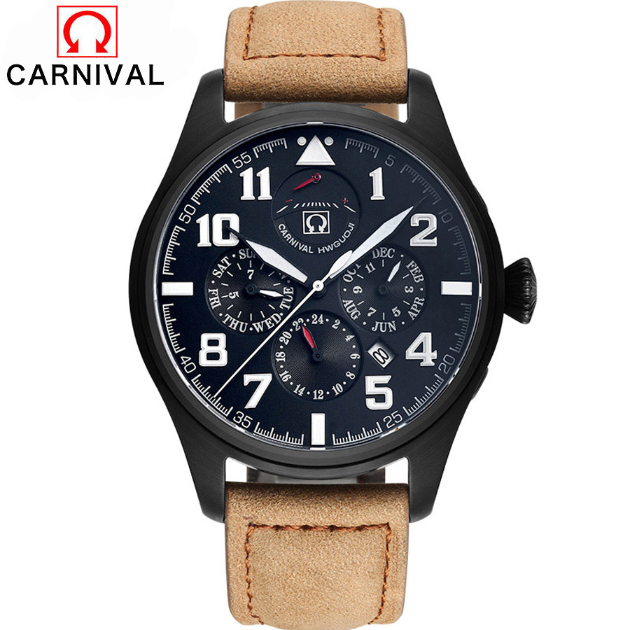 Carnival Top Brand Waterproof Shockproof Submariner Series Mechanical Watches Men Diving 100M Sports Military Watch Luxury 2017 2017 top brand shockproof waterproof diving watch men sport swim watches 100m water resistant for dive wristwatch swimming