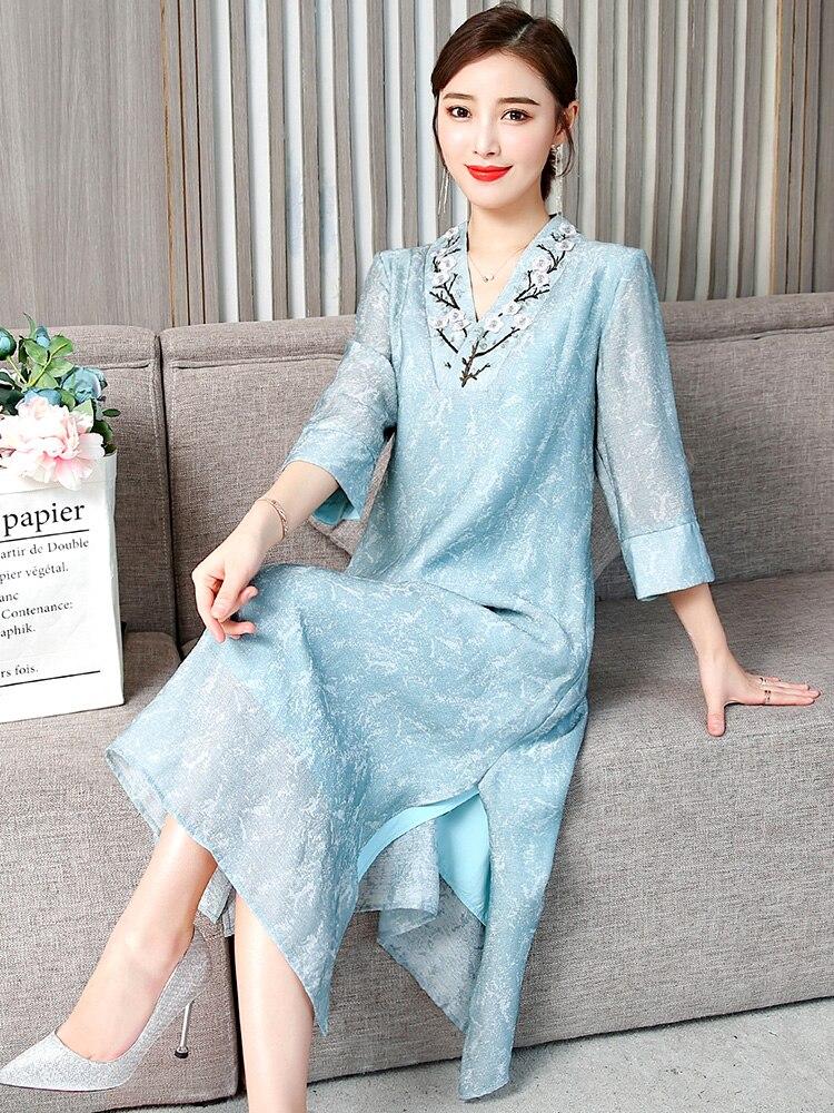 2019 summer elegant crane golden satin jacquard improved girl cheongsam print cheongsam traditional chinese dress