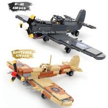 Verenigde Staten Tweede Wereldoorlog Hoofdvechter P-40 Deporter Jet Supersonische vechter SPITFIRE model Blokken compatibel lego-ets geschenk