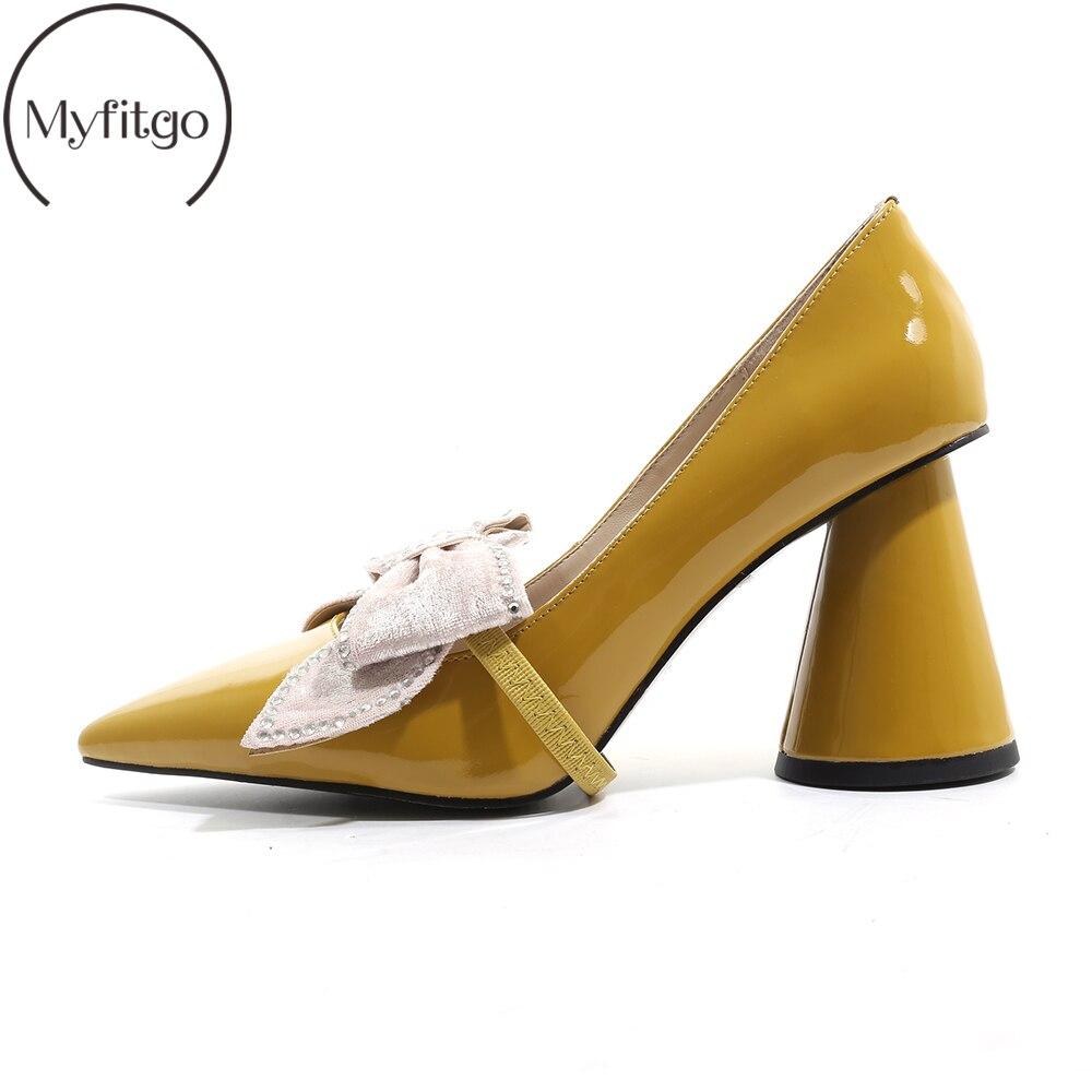 Verni Black Automne Hauts Myfitgo Pointu Pour yellow Cm Classiques Avec Habillées Chaussures Femme Bowknot Femelle Aiguilles 8 Pompes Printemps Talons En Cuir 5 1Rwq16zx