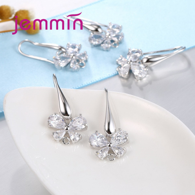 Jemmin Lovely Butterfly CZ Crystal Jewelry Hoop Earrings DIY Jewelry Findings Accessories 925 Sterling Silver Components
