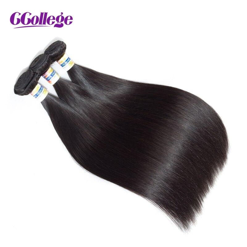 CCollege Faisceaux de Cheveux Humains Remy Droite Cheveux Malaisiens Armure Faisceaux 1 pièce Couleur Naturelle 8-26 Cheveux Extensions double Wefted