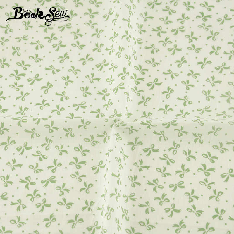 Booksew 100% Cotton Plain Fabric Green Bowknot Design Home Decoration Crafts Doll DIY Patchwork Scrapbooking Quilting Cloth