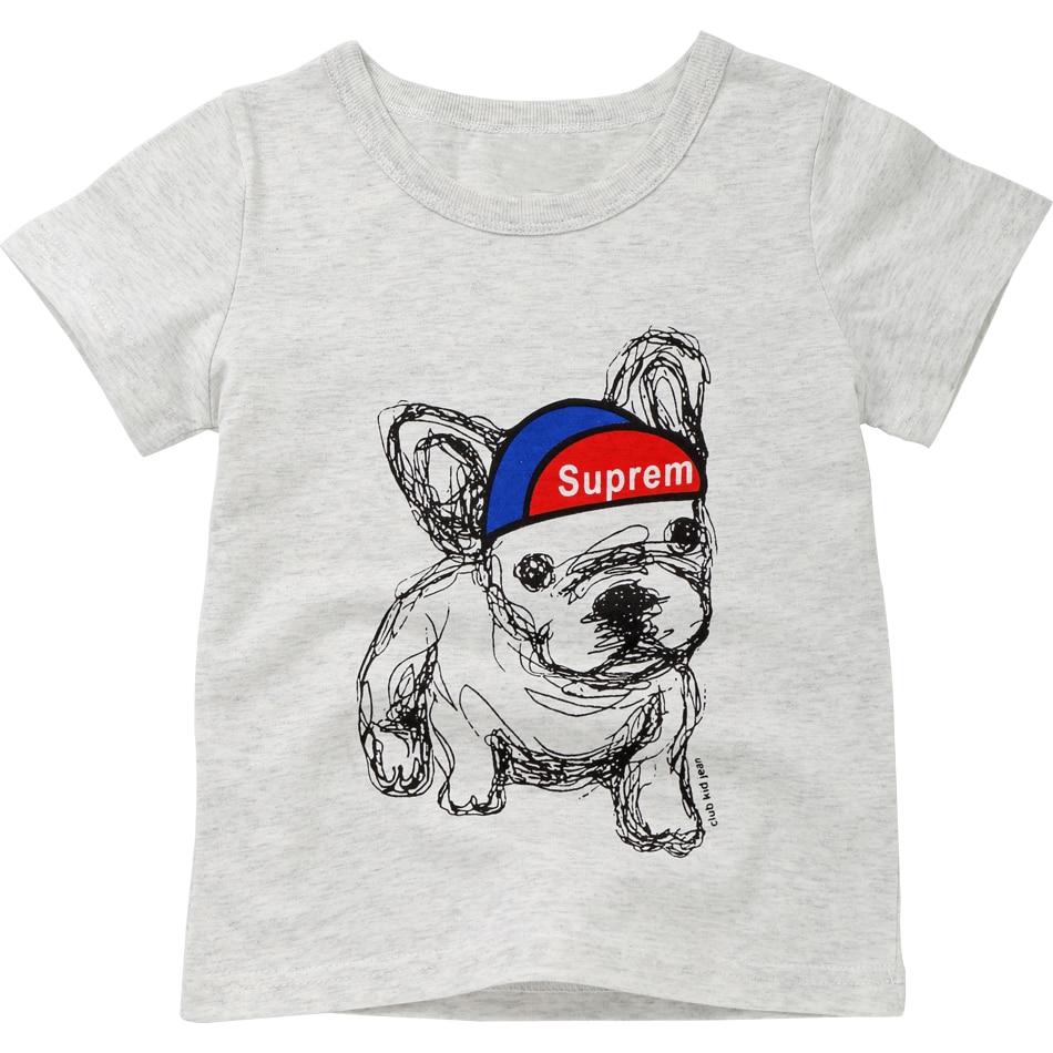 New Boys T Shirt Cartoon Dog Print T-shirt Summer 2018 Baby Girls Shirts O-neck Cotton Children Tshirt Short Sleeve Kids Clothes
